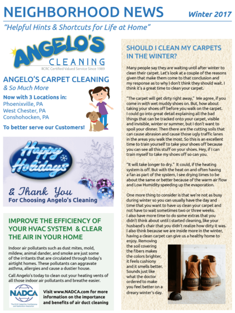 Angelo S Cleaning 2017 Winter Newsletter Angelos Cleaning