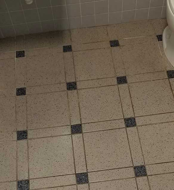 before cleaning tile grout