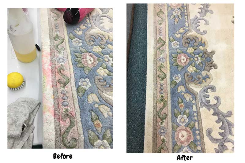 red dye stain in carpet removed!